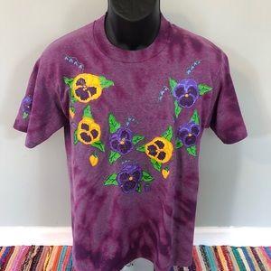 80s Flower Power Woodstock Tie Dye Shirt Medium